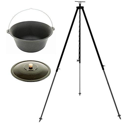Grillplanet® Gulaschkessel-Set mit Feuertopf aus Gusseisen 10 Liter, Deckel und Dreibein 180 cm