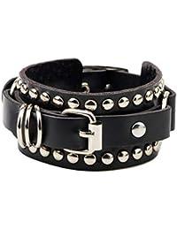 565f84a03d7 wangzz Nouveau Mode Casual Gothique Punk Style Rivet Boucle Ceinture en  Cuir PU Bracelets Bracelets pour