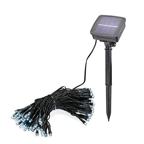 Solar Lichterkette 100 LEDs Lichtfarbe kaltweiß 6000K Länge 12 Meter Solarleuchten Außenbeleuchtung Weihnachtsbeleuchtung Außen 102355