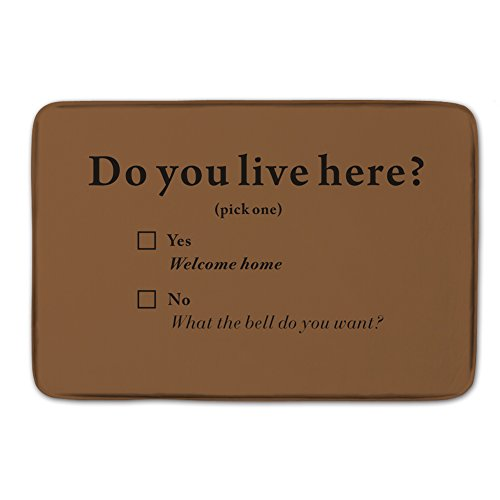 Do You Live Here Custom Zerbino 59,9 x 39,9 cm Art Quote Funny Outdoor Tappetino Zerbino Lavabile