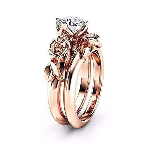 Botreelife Rose Blume Ring für Frau Strass Engagement Hochzeit Fingerringe Band Mädchen Schmuck (Roségold 6) (Kostüm Schmuck Ringe Engagement)