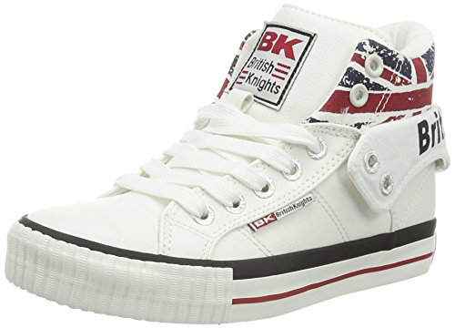 British Knights Unisex-Kinder Roco Hohe Sneakers, Blanc (white/union Jack), 35 EU
