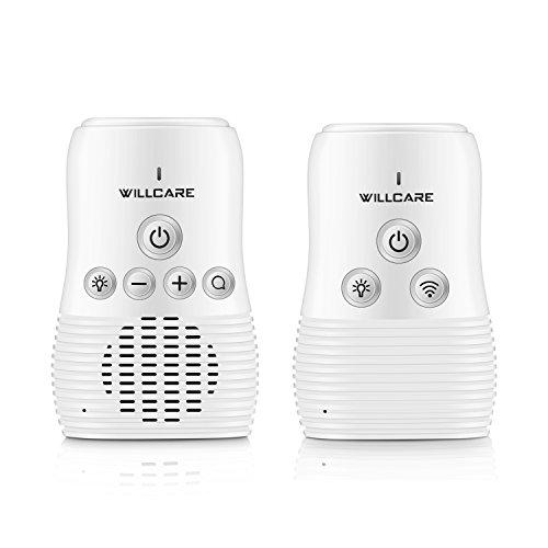 Willcare Eco Babyphone mit Gegensprechfunktion, Baby-Einheit Nachtlicht Grosse Reichweite & Batteriebetrieben Die Eltern-Einheit. (DBM-8, Weiß)