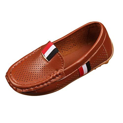 Alaso Chaussures Bébé Scarpe da barca mocassino per bambini, per il tempo libero, comode, in pelle scamosciata, piatte, stile Oxford marrone 27