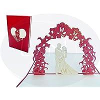 LIN - Biglietto d'auguri per matrimonio con sposini e arco fiorito in 3D