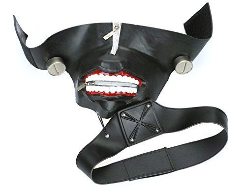 Kostüm Blutige Gesicht Reißverschluss - CoolChange Hochwertige Tokyo Ghoul Maske von Ken Kaneki aus Gummi