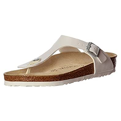 Ladies Birkenstock GIZEH Flat Thong Sandals with Adjustable strap For Perfect Fit (Regular width) (38 EU, White)