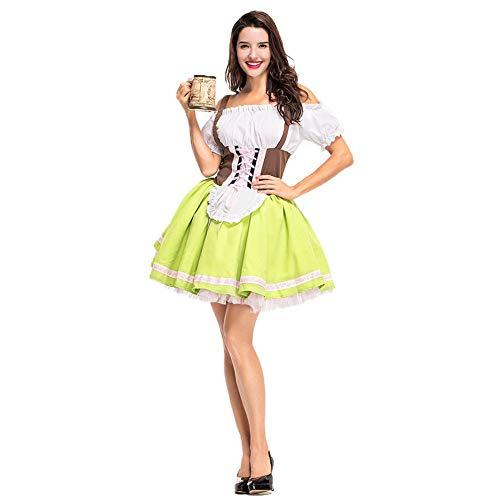 Hallowmax Damen Oktoberfest Trachtenkleid Munich Tracht Karneval Kostüm Schleife Grün Hübsch Elegant