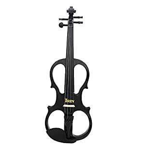 Andoer® 4/4 Wood Maple Electric Violin Fiddle Stringed Instrument with Ebony Fittings Cable Headphone Case for Music Lovers Beginners