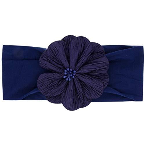 VIccoo geborener Säugling Baby breites Stirnband süße Blume beugt dehnbares Haarband Imitation Pearl Beaded Plissee Nylon Headwrap - Navy blau