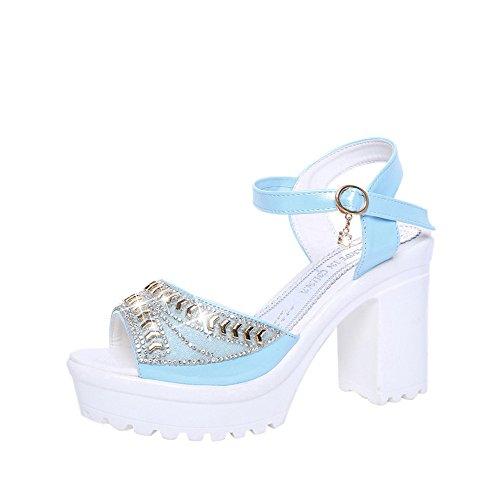 Sandales à Talons Hauts,LANSKIRT Femmes Poissons Bouche Strass Plateforme Talons Sandales Boucle Chaussures De Pente