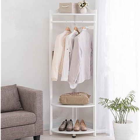 Scaffali di pavimento Appendiabiti in legno massello, gancio di ventilatore di angolo camera da letto,Bianco