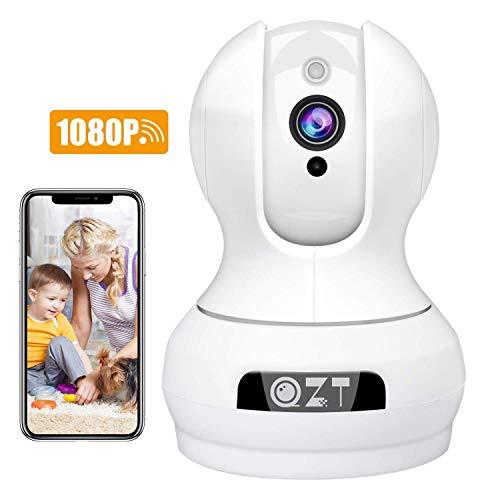 QZT HD WiFi Überwachungskamera, 1080P WLAN IP Kamera Bewegungserkennung Nachtsicht Hunde Kamera mit Schwenkbar und Zwei Wege Audio für Indoor Baby Haustier Zuhause Überwachung App Kontrolle Intelligente Motion-detection