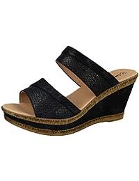 5cd47d47c86 Cushion Walk Ladies Leather Lined Peep Toe Mid Wedge Heel Slip On Mules  Sandals Size 3