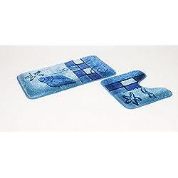 Juego de 2Juego de alfombras para Azul con Recorte I–Alfombrilla de baño (50x 90, WC–Alfombrilla (50x 45I Escobillero I I cuarto de baño I Alfombra I baño I Alfombrilla