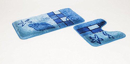 FD-Workstuff 2- teiliges Badematten Set Hamburg blau mit Ausschnitt I Badvorleger 50x90, WC Vorleger 50x45 I Garnitur I Teppich I Badezimmer I Matte I Badematte I Vorleger