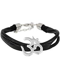 Exxotic Jewelz Sterling Silver Black OM and Leather Cord Rakhi Bracelet for Men & Women