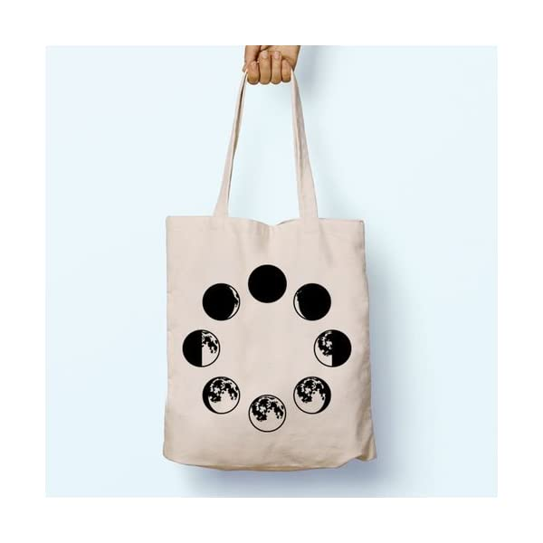 Moon Phases, Illustration, Shoulder, Tote, Long Handles, Graphic, Cute, Tumblr, Hipster, Beach, Gym, Festival, School, Bag - handmade-bags