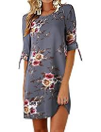 Ajpguot Vestiti da Donna Estivo Bohemian Stampa Fiore Abiti da Spiaggia  Chemisier Abito a Manica Un Quinto Elegante… 37fb3375150