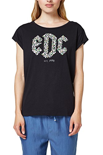 edc by ESPRIT Damen T-Shirt 078CC1K021, Schwarz (Black 001), X-Small