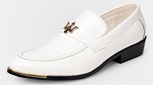 HYLM Männer Business Schuhe Leder Business Casual Schuhe Hochzeit Bankett Kleid Schuhe , white , 43 (Männer Weißes Kleid Schuhe)