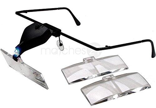 matches21 Profi LED Lupenbrille Lupen-Brille mit Beleuchtung & 3 Linsen Zum Auswechseln 1,5 / 2,5 / 3,5-fache Vergrößerung