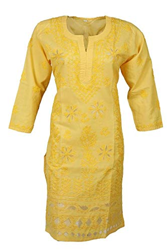 Grace Collections Women's Ethnic Printed Cotton Lucknowi Chikankari Kurti (MangoYellow colour, Aari and Net work 40)