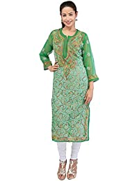 BDS Chikan Hand Embroidered Lucknow Chikankari Green Colour Georgette Kurti For Women - BDS00831