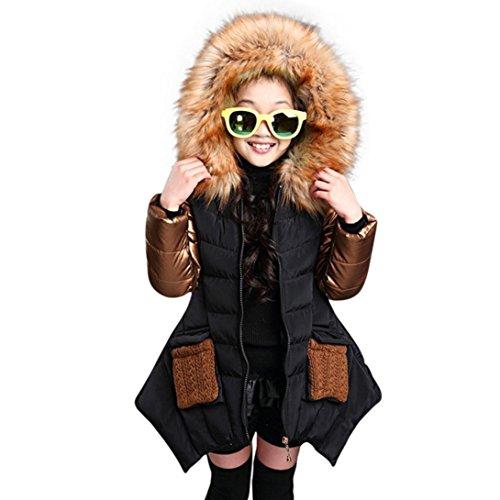 Longra Baby Kinder Mädchen Winter Daunenmantel Daunenjacken mit Fellkapuze Kinder Baumwolle Winterjacke Kapuzenjacke Kapuzenmantel Trenchcoat Warm Outwear(4-10Jahre) (150CM 8Jahre, Black) (Gemütliche Kapuzenjacke)