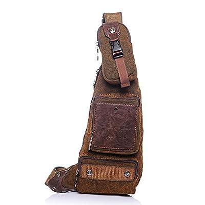 Outreo Sac Porté épaule Homme Sac bandoulière Sport Chest Bag Cuir Vintage Sacoche de Voyage Besace Toile Rétro Messager Bourse pour Outdoor