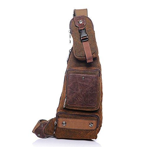 a657790d8715 Outreo Sac Porté épaule Homme Sac bandoulière Sport Chest Bag Cuir Vintage  Sacoche de Voyage Besace Toile Rétro Messager Bourse pour Outdoor