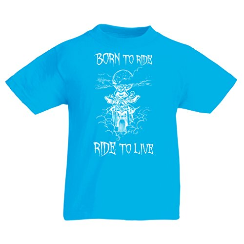 N4690K T-shirt per bambini Born To Ride! motorcycle clothing (9-11 years Azzurro Multicolore)