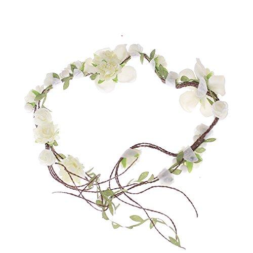Ever Fairy Künstlich rebe blume Crown Kopfband Tiaras Halskette Riemen Party Dekoration für Hochzeit Festival - Weiß, One size