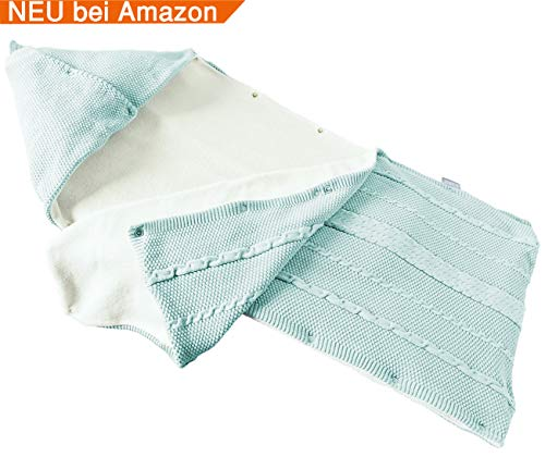 sei Design Baby Schlafsack gestrickt aus 100{db8c6226e54fcb2a6e36e72df19be2baf9bf4ecee908273f9ff50084ff78989f} Baumwolle | Erstlingsdecke | Puckdecke Swaddle in hübscher Geschenk-Verpackung