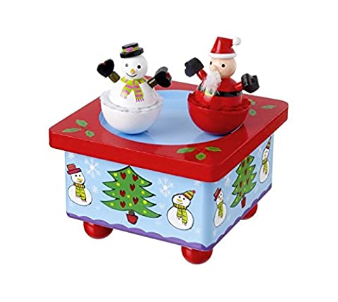 Handcrafted Wooden Christmas Music Box - Santa and Snowman Spin to Twelve Days of (Babbo Neve Natale)