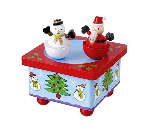 Orange Tree Toys Boîte à musique de Noël en bois avec Père-Noël et bonhomme de neige