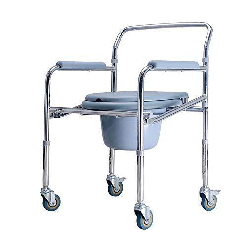 Faltbarer Duschstuhl (WWJQ Wheeled Toilettenstuhl Faltbar äLterer Duschstuhl, Toilettenhockerbewegung 360 ° Universalrad Mit Bremse, SchöN Und Langlebig)