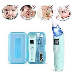 Idea Regalo - INTEY Aspiratore Nasale Neonato Elettrico con 3 Livelli Aspirazione, 2 Ugelli Sostituibili, Colori Flash e Musica, Regalo del Bambino
