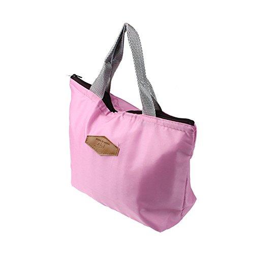 Longra Portatile impermeabile Pure Color Lunch Bag Rosa