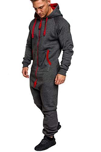 Amaci&Sons Herren Overall Jumpsuit Jogging Onesie Trainingsanzug Camouflage 3004 Anthrazit/Rot L
