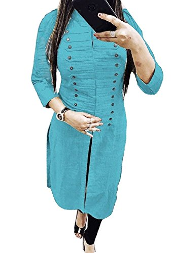 10. Kurties for Womens Party wear designer below 500 (Women's Clothing Kurti for women latest designer wear Kurti collection in latest Kurti beautiful bollywood Kurti for women party wear offer designer long digital printed high low straight Kurti)