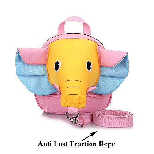 Animal zaino bambino asilo bimbi piccolo borsa guinzaglio imbracatura (orecchie blu del naso giallo)