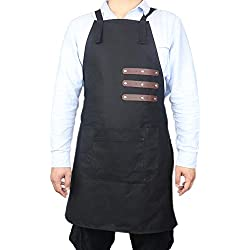 TUYU - Delantal de piel para soldar, lona encerada de 16 onzas, delantal de carpintero, delantal de trabajo para cocina, jardín, cerámica, taller de manualidades, garaje TYDWQ102, negro