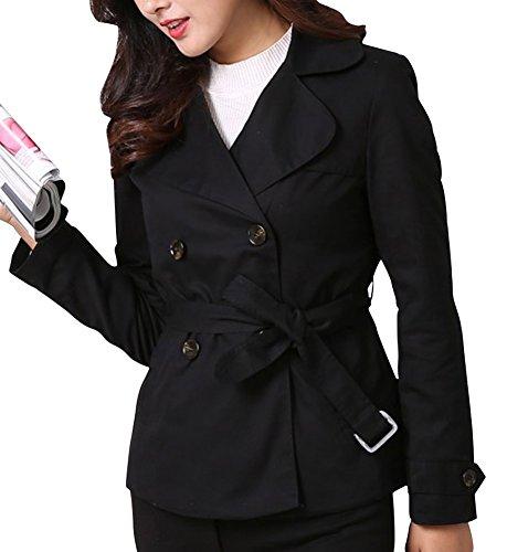 MISSMAO Donna Autunno Invernale Cappotto Giacca Trench Coat Doppio Petto a Manica Lunga con Cintura Nero XS