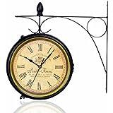 reloj de pared nostálgico retro Vintage de hierro forjado doble - reloj de pared de cara de reloj movimiento de silencio