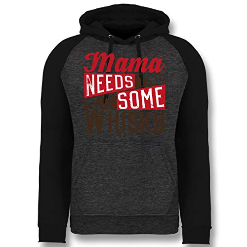 Statement Shirts - Mama Needs Some Whisky - XXL - Anthrazit meliert/Schwarz - JH009 - Baseball Hoodie