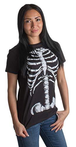 Damen T-Shirt mit großem Skelett-Print vom Brustkorb - ideal als lustige Halloween-Verkleidung - Ladies,L