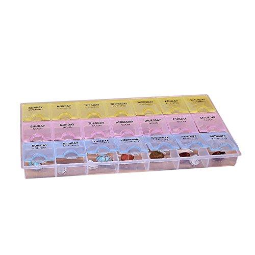 Igemy Transparente Plástico Estuche Semanal de Caja Almacenamiento de Pastillas Medicamentos, para el Organizador del Dispensador de Tabletas de 7 Días para Am PM