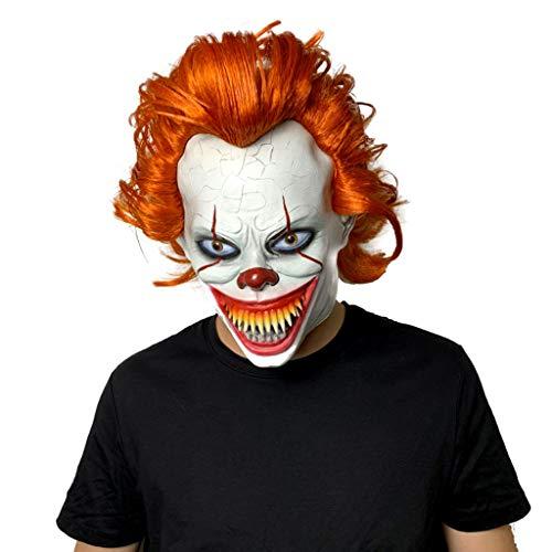 TINGSHOP Horror Maske, Halloween Adult Clown Maske Mit Haaren Und Exponierten Zähnen Stephen Latex Kostüm Maske Scary Halloween Cosplay Party Ostern, Thema Party Dekoration Requisiten Weiß -