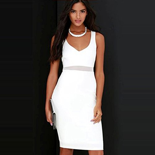 La Vogue Robe Femme Blanc Midi Décolleté Mariage Soirée Moulant Crayon Bretelle
